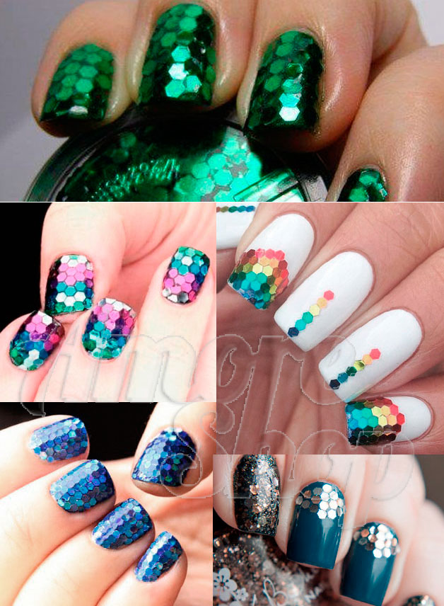 Примеры дизайнов с использованием цветной чешуи для ногтей