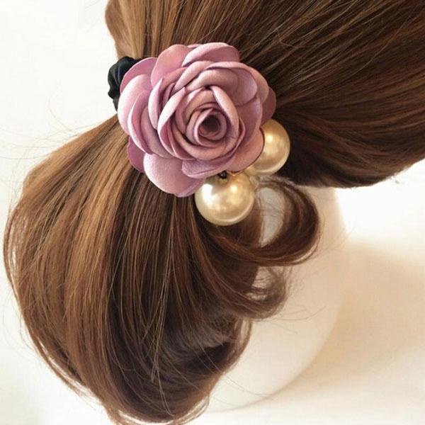 Резинка для волос цветок с жемчугом