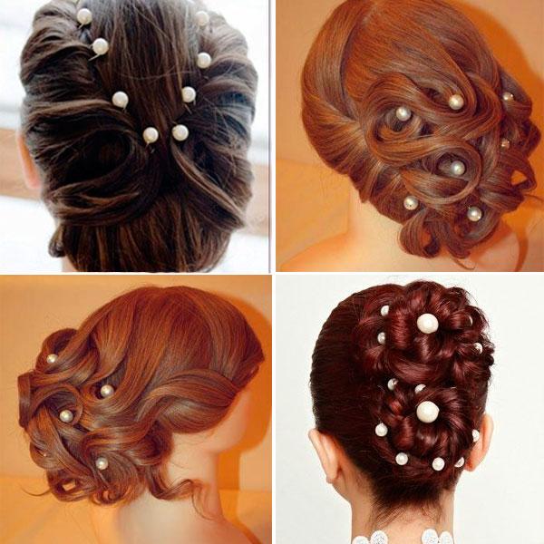Пример использования шпильки для волос с жемчугом