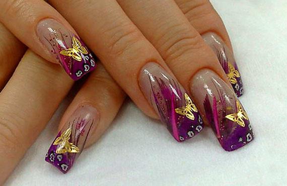 Пример дизайна с использованием металических фигурок для ногтей