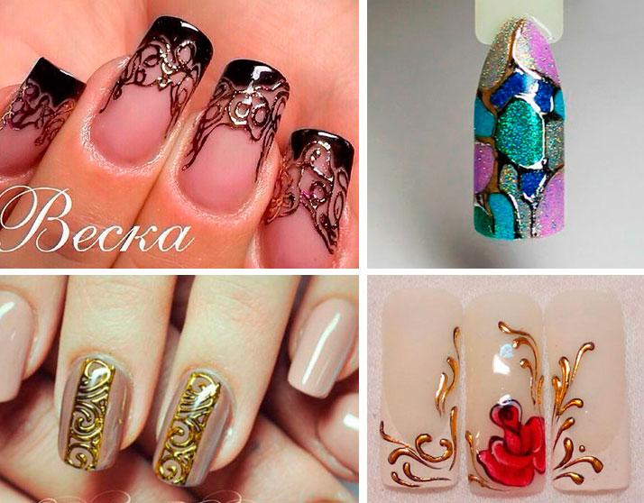Варианты дизайнов ногтей с использованием переводной фольги Nails World: