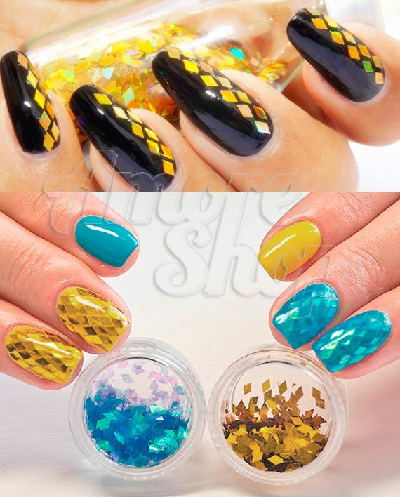 Примеры дизайнов с использованием ромбиков для ногтей