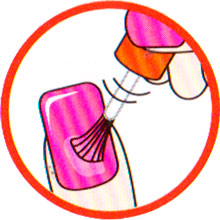 подготовка ногтей и нанесение базы